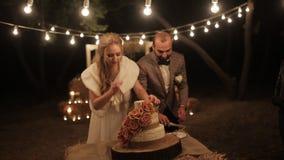 Пары отрезали свадебный пирог деревенский напольно видеоматериал