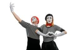 Пары пантомимы в влюбленности стоковое фото rf