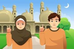 Пары перед иллюстрацией мечети бесплатная иллюстрация