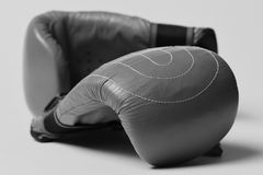 Пары перчаток бокса лежа рядом друг с другом Кожаное оборудование коробки для боя и тренировки Защита и прочность Стоковые Фотографии RF