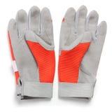 Пары перчаток, красного цвета и серого цвета предохранения от работы Стоковая Фотография