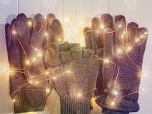 3 пары перчаток сделанных из шерстей Стоковые Изображения