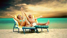 пары пляжа стоковое изображение