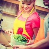 Пары подготавливая салат еды свежих овощей Стоковое Изображение