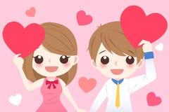 Пары принимают сердце и усмехаются Стоковые Изображения RF