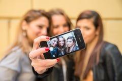 Пары принимая selfie на сене Стоковая Фотография