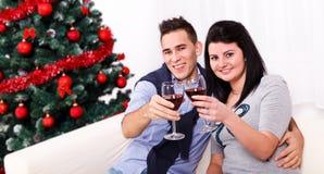 Пары провозглашать с вином Стоковые Изображения RF