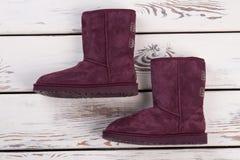 Пары пурпуровых ботинок Стоковое Изображение