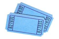 Пары пустых голубых билетов кино или лотереи стоковые фотографии rf