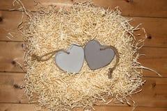 Пары пустых серых деревянных сердец влюбленности Стоковое фото RF