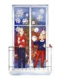 Пары ребенка украшают окно зимы со снежинками Новый Год рождества карточки счастливое веселое иллюстрация штока