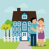 Пары родного дома и изображение младенца иллюстрация вектора