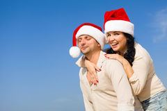 Пары рождества на пляже Стоковые Изображения