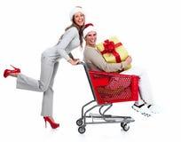 Пары рождества Санты с подарком. Стоковая Фотография RF