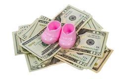 Пары розовых добыч младенца отдыхая на куче 20 и 10 делают Стоковые Изображения
