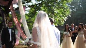 Пары свадьбы на снаружи церемонии groom невесты пляжа венчание Мексики красивейшего красивое как раз поженено акции видеоматериалы