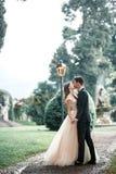 Пары свадьбы целуя в парке в дожде стоковое изображение rf