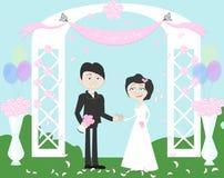 Пары свадьбы в арке иллюстрация вектора