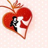 Пары свадьбы в в форме сердц рамке иллюстрация штока