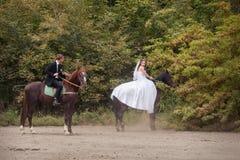 Пары свадьбы на лошадях Стоковые Фотографии RF