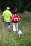 пары сельской местности hiking старший Стоковые Изображения RF