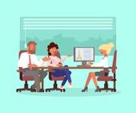 Пары семьи в туристическом офисе иллюстрация вектора