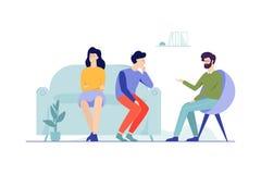 Пары семьи сидя на кресле говоря с мужским бесплатная иллюстрация