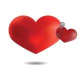 Пары сердец прикололи штырь, на белой предпосылке, Vecto Стоковые Фото