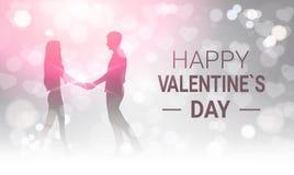 Пары силуэта держа руки над дизайном поздравительной открытки дня валентинок блестящей предпосылки Bokeh счастливым Стоковая Фотография