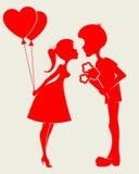 Пары силуэта в влюбленности Стоковое Изображение