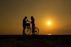 Пары силуэта на пляже Стоковая Фотография