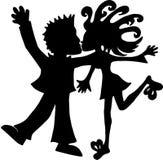 Пары силуэта симпатичные Стоковое Изображение