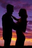 Пары силуэта танцуя совместно Стоковое Изображение