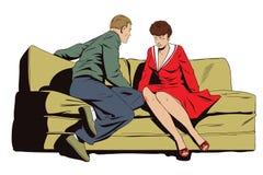 Пары сидя на кресле и говорить иллюстрация вектора