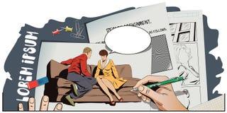 Пары сидя на кресле и говорить иллюстрация штока