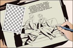 Пары сидя на кресле и говорить бесплатная иллюстрация