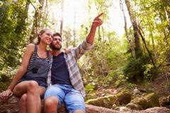 Пары сидя на стволе дерева в лесе совместно Стоковая Фотография RF