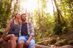 Пары сидя на стволе дерева в лесе совместно Стоковое Изображение