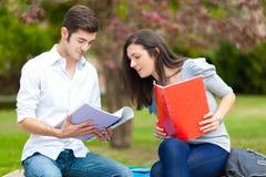 Пары студентов на парке Стоковое Изображение