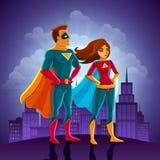 Пары супергероев иллюстрация вектора