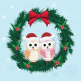 Пары сыча поздравительной открытки милые и сосна рождества гирлянда иллюстрация штока