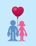 Пары с воздушным шаром сердца Стоковое фото RF