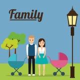 Пары с концепцией семьи детской дорожной коляски иллюстрация вектора