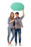 Пары с пузырями и устройствами речи Стоковые Изображения