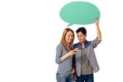 Пары с пузырями и устройствами речи Стоковая Фотография