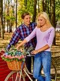 Пары с ретро велосипедом в парке Стоковые Изображения RF