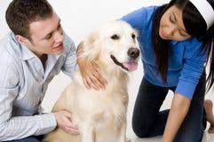Пары с собакой стоковые фотографии rf