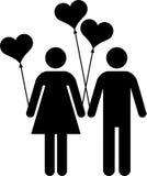 Пары с heart-shaped воздушными шарами Иллюстрация штока