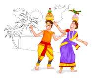 Пары Тамильского языка танцев бесплатная иллюстрация