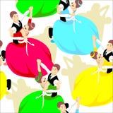 Пары танцев, безшовное patern, люди, танцоры иллюстрация штока